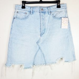 Free People Going Rogue Distressed Denim Skirt